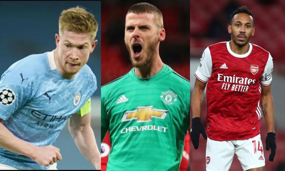 De Bruyne, De Gea y Aubameyang lideran la lista de los mejores pagados en la Premier League. (Fotos: AP/ Getty)