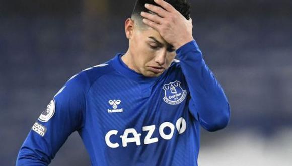 James Rodríguez solo marcó seis goles en la presente temporada del Everton. (Foto: Twitter)