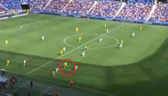 Cristian Benavente y el taco para la pared y el 1-0 del Nantes ante el Olympique Lyon. (DirecTV)