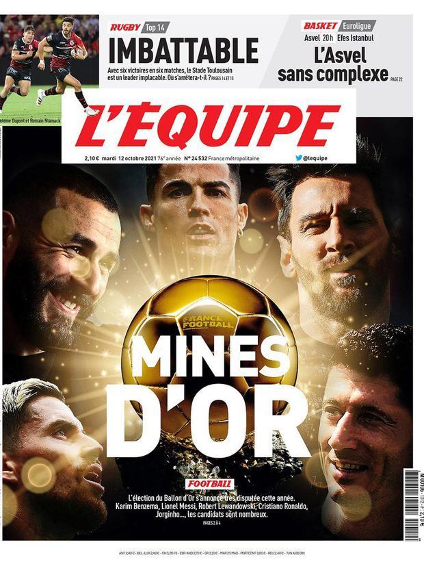 Messi, Cristiano, Lewandowski, Jorginho y Benzema figuran como los cinco favoritos a llevarse el Balón de Oro 2021. (Foto: L'Equipe)