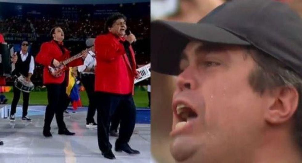 El grupo Los Palmeras puso el ambiente de fiesta a la final de la Copa Sudamericana. (Captura: DirecTV Sports)
