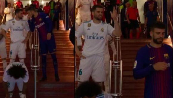 El tenso momento en el túnel de acceso al Camp Nou (Foto: captura de Movistar).