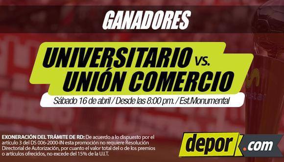 Universitario de Deportes vs. Unión Comercio: lista de ganadores de entradas