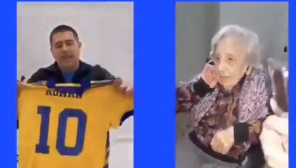 Riquelme cumple deseo a fanática de Boca de 104 años. (Foto: Captura)