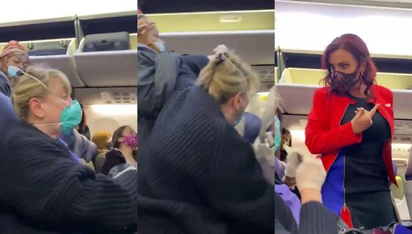 Un video viral muestra la inusitada reacción de una mujer al pedírsele que siga las indicaciones para el desembarque de una aeronave. | Crédito: @unknwns0ul / Twitter.