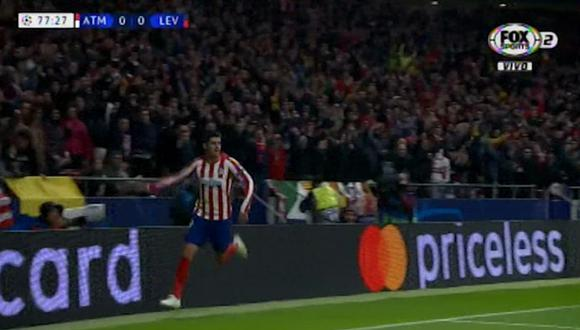 Álvaro Morata anota el 1-0 del Atlético Madrid ante Bayer Leverkusen por la Champions League. (FOX Sports 2)
