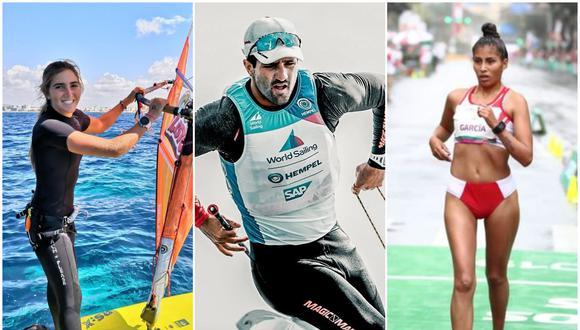 María Belen Bazo y Stefano Peschiera son deportistas de vela; mientras que Kimberly García se desempeña en la marcha atlética, modalidad 20 km. (Foto: Instagram y GEC)