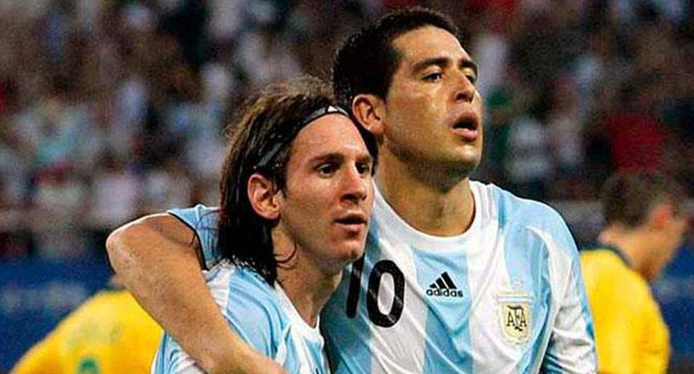 Lionel Messi y Juan Román Riquelme