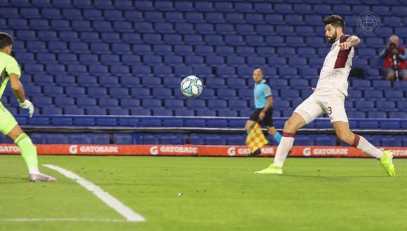 Nicolas Orisini anotó un doblete en La Bombonera. (Foto: Lanús)