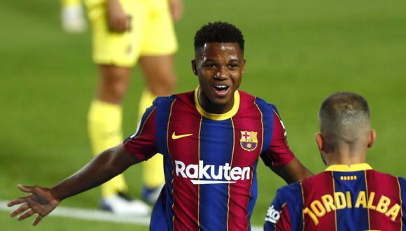 Ansu Fati marcó dos goles en el estreno liguero de Barcelona en 2020-21. (AP)