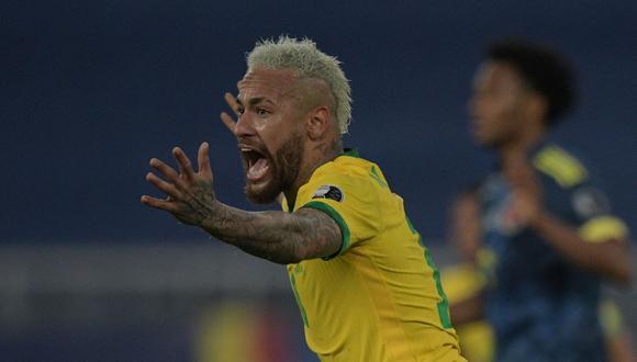 Neymar discutió con Miguel Borja luego del 2-1 de Brasil vs. Colombia. (Foto: AFP)