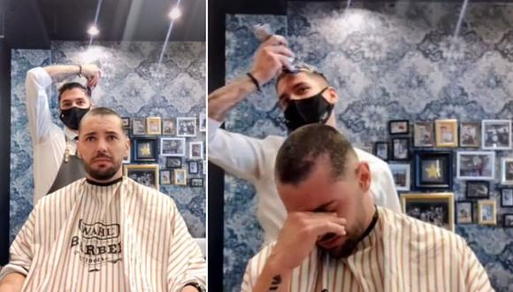 """Un barbero se rapó el cabello en señal de apoyo a un compañero de trabajo con cáncer. """"No estás solo"""", le dijo. (Foto: @neftabarber / TikTok)"""