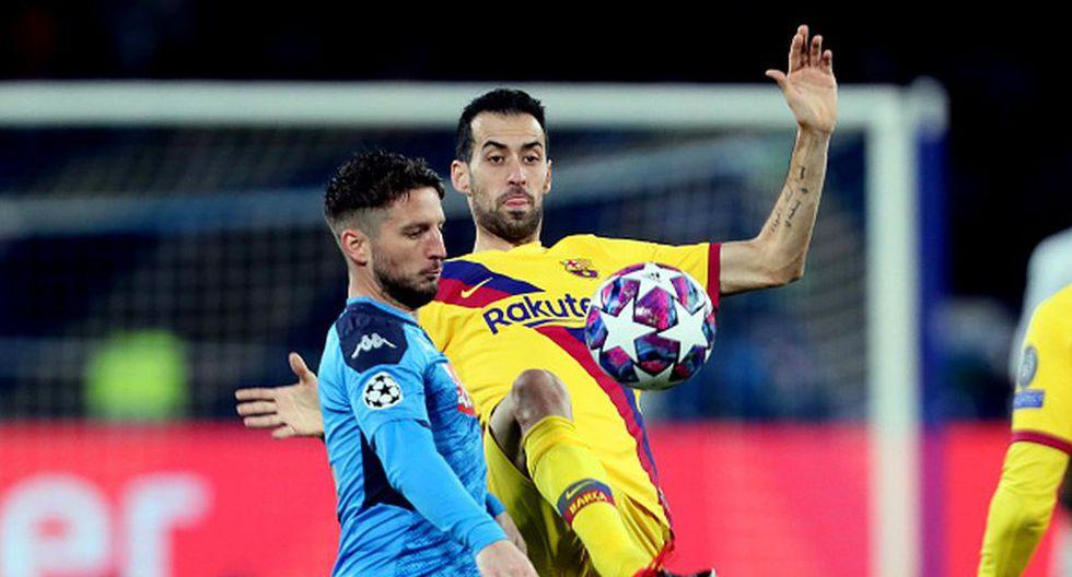 Sergio Busquets no podrá jugar la vuelta ante Napoli por acumulación de amarilla. (Getty)