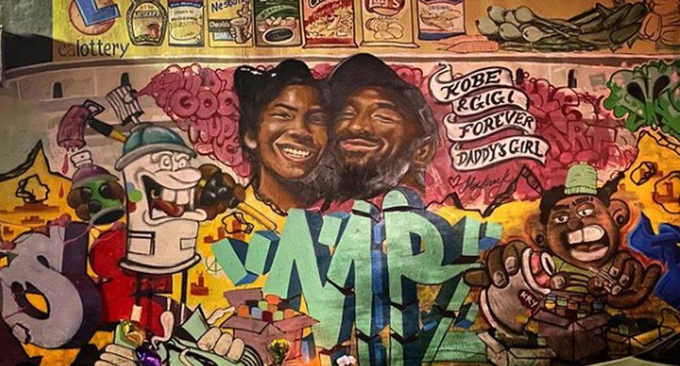 El mural de Kobe y su hija. (Foto: Agencias)