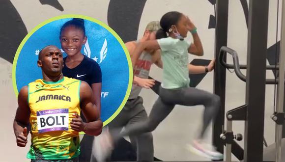 Un video viral muestra el increíble talento de una niña para correr y que llevó a considerarla por muchos como una eventual sucesora de Usain Bolt. | Crédito: @faithfocusfinish / Instagram / wric.com / Composición.
