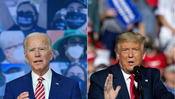 Estados Unidos elegirá presidente este 3 de noviembre entre el demócrata Joe Biden y el republicano Donald Trump. (Fotos: Angela Weiss y SAUL LOEB / AFP).
