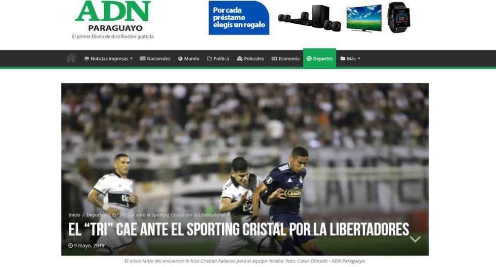 Así reaccionó la prensa de Paraguay tras el triunfo de Sporting Cristal sobre Olimpia. (Foto: Captura)