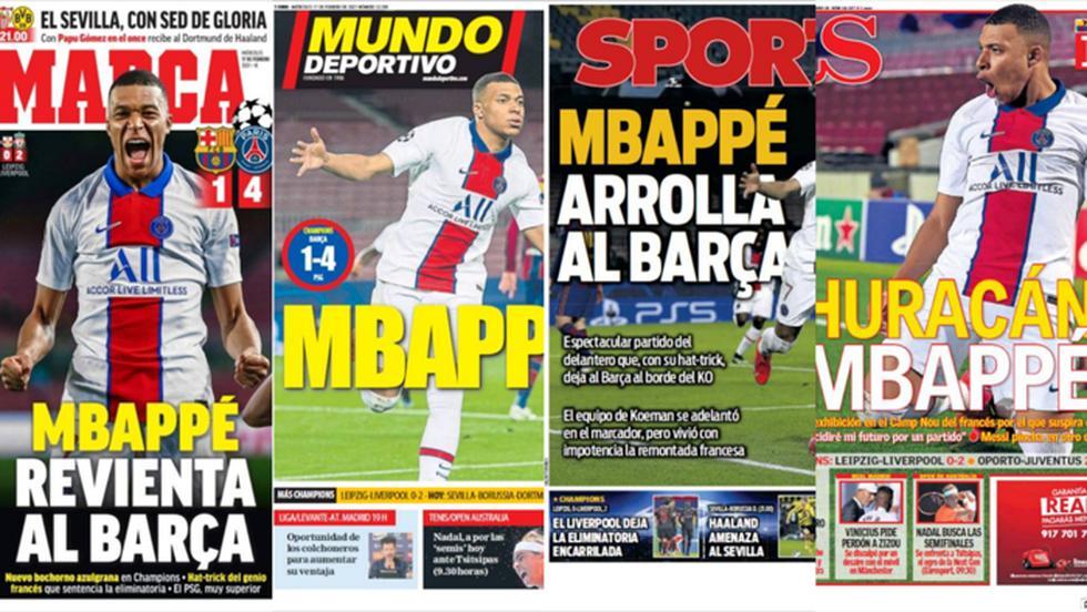 Las portadas de la exhibición de Mbappé ante el Barcelona