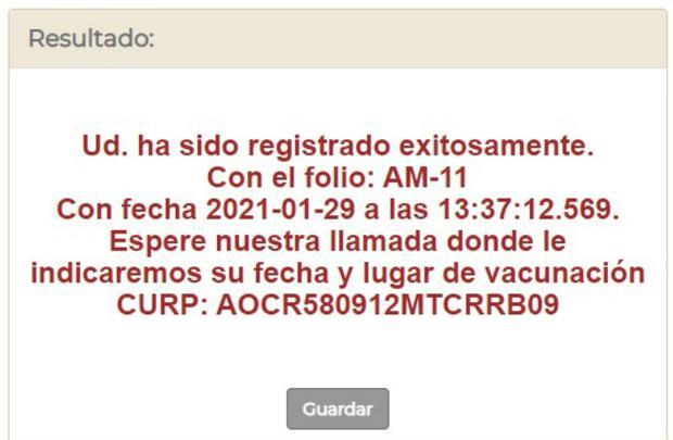 Este es el mensaje de confirmación de que tu registra de vacunación ha sido realizado con éxito (Captura: mivacuna.salud.gob.mx)