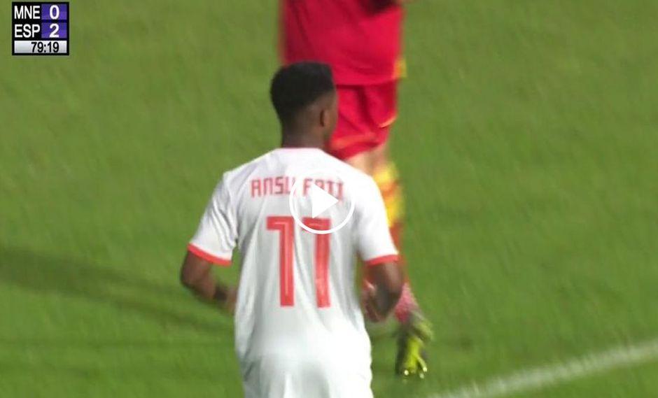 Ansu Fati marcó su debut este martes con la selección de España Sub 21 en partido ante Montenegro.