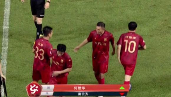 Presidente de la Superliga China ingresó al campo a los 90 minutos. (Captura: Twitter)