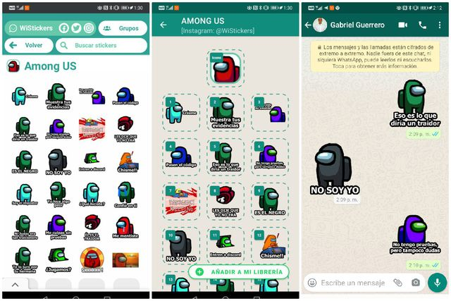 FOTO 3 DE 3. La fiebre de Among Us sigue creciendo y ahora llega a WhatsApp en forma de stickers. Foto: Captura (Desliza a la izquierda para ver más fotos)