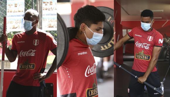 Jefferson Farfán , Raúl Ruidíaz y Marcos López continúan su preparación en la Videna. (Foto: FPF)