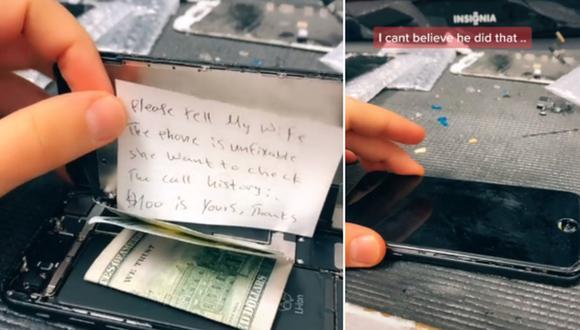 Un hombre abrió un celular para repararlo y halló un insólito mensaje acompañado de dinero. (Foto: @maniwarda / TikTok)