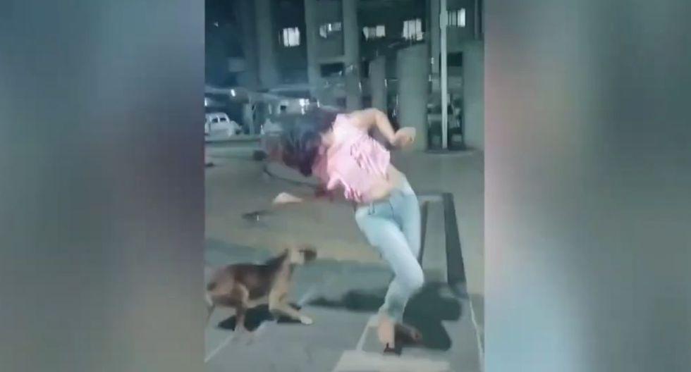 Baile de mujer se hace viral por cómo terminó reto en la calle. (TikTok/Captura)