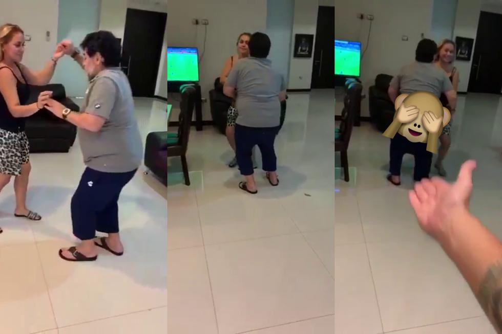 Diego Maradona volvió a ser el centro de atención en redes sociales tras la difusión de unas imágenes de sus peculiares pasos de baile al ritmo de una conocida canción. (Fotos: Telemundo Deportes en Facebook)
