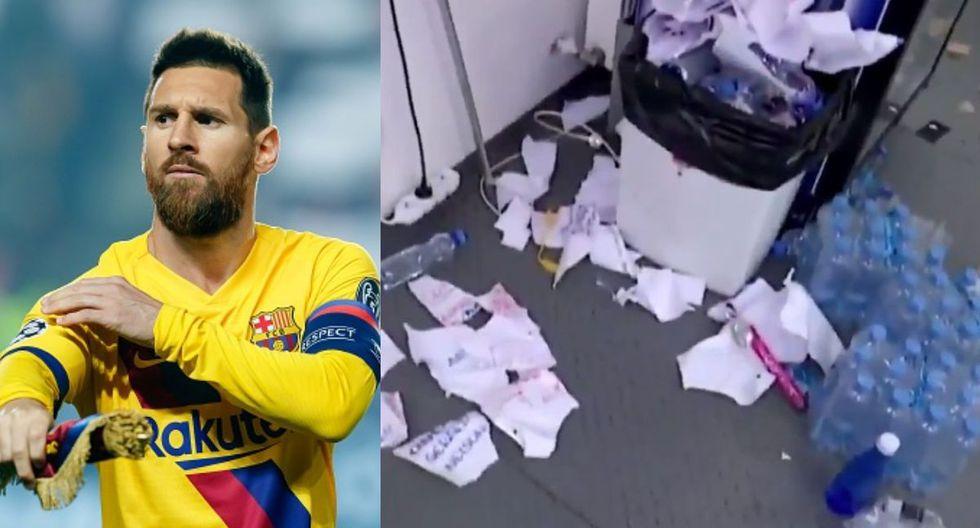 Jugadores del Barcelona dejaron su vestuario en pésimas condiciones tras vencer al Slavia Praga en Champions. (Twitter)