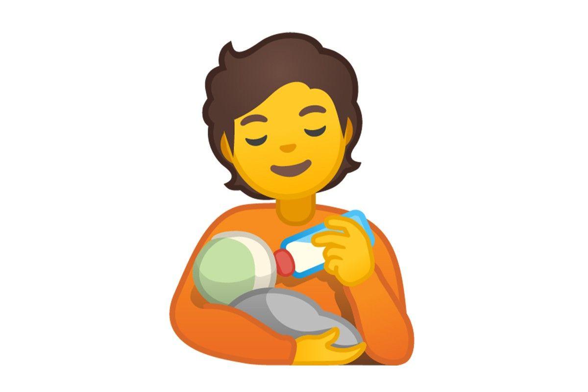 Uno de los emojis que se verán en WhatsApp es de la madre dando biberón. (Foto: Emojipedia)