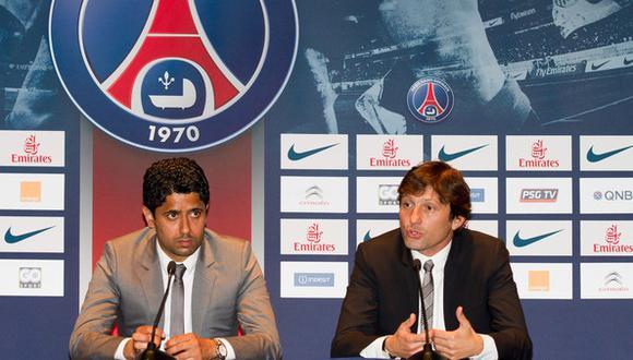 Nasser Al-Khelaïfi, presidente del PSG y Leonardo, director del equipo. (Foto: AFP)