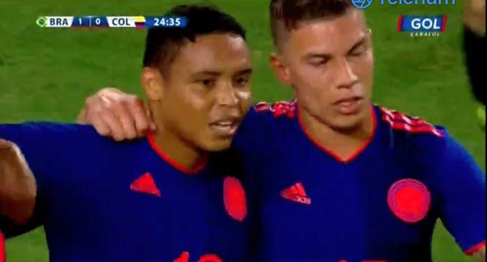 Luis Muriel puso el 1-1 en el Colombia vs. Brasil. (Caracol TV)