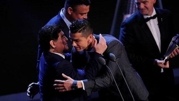 Cristiano Ronaldo no se olvidó del cumpleaños de Diego Maradona. (AFP)