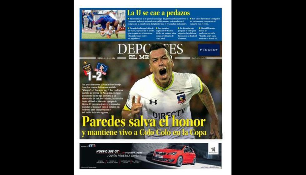 Así tituló la prensa chilena el triunfo de Colo Colo sobre Melgar. (Captura: Imagen)