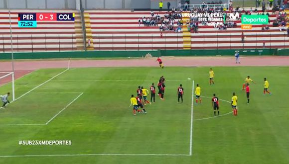 Así fue el tercer gol en el perú vs. Colombia. (Captura)