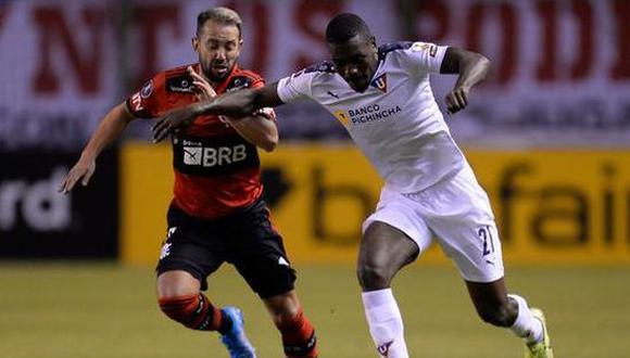 Liga de Quito empató 2-2 con Flamengo en la penúltima jornada de la Copa Libertadores 2021. (Foto: Twitter)