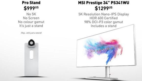 El nuevo monitor de Apple causó controversia por el precio de un accesorio vital.   Foto: Twitter