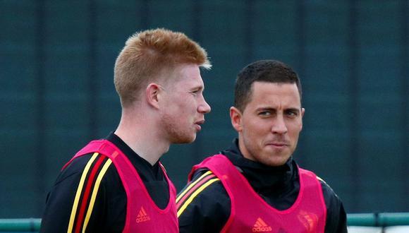 Hazard y De Bruyne salieron lesionados en el duelo de octavos frente a Portugal. (Foto: Reuters)