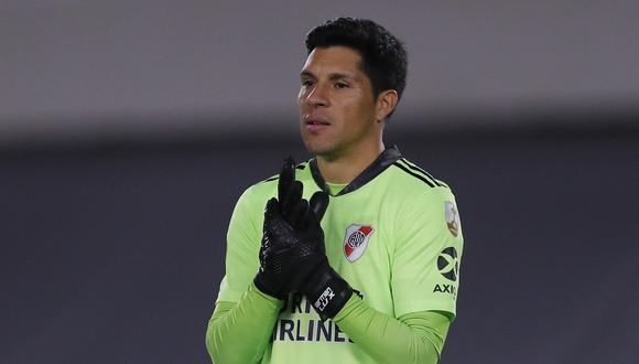 Enzo Pérez se puso los guantes en el triunfo de River ante Santa Fe por Copa Libertadores. (Foto: AFP)