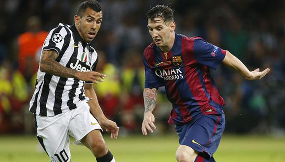 Lionel Messi y Carlos Tevez se enfrentaron en la final de la Champions League 2015 en Berlín. (Getty)