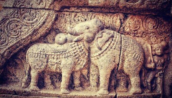 ¿Un toro o un elefante? Resuelve el desafío visual del exquisito bajorrelieve de 900 años. (Reddit u/s4nskrit)