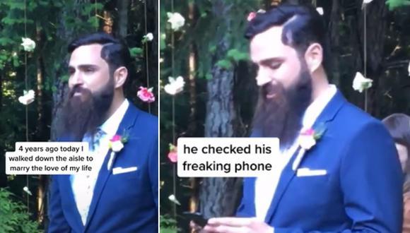Un novio fue captado mirando su celular mientras su novia camina hacia el altar. (Foto: @taylortoks / TikTok)