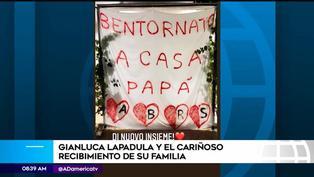 Gianluca Lapadula fue sorprendido por su familia tras su llegada a Italia