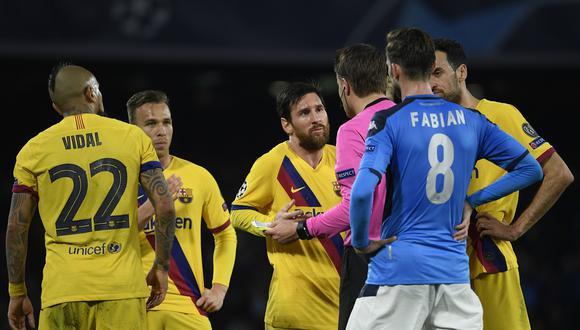 Barcelona y Napoli igualaron 1 a 1 en el partido de ida jugado en San Paolo (Foto: AFP)