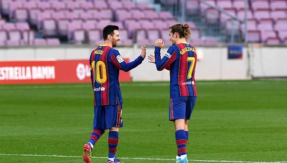 Antoine Griezmann y Lionel Messi juegan juntos en Barcelona desde el 2019. (Getty)