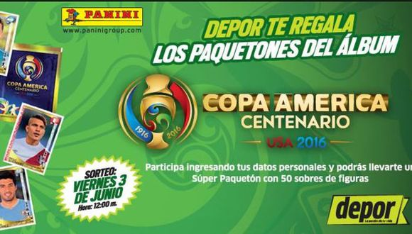 Lee la nota para que sepas como participar del sorteo del álbum de la Copa América 2016 (Depor)