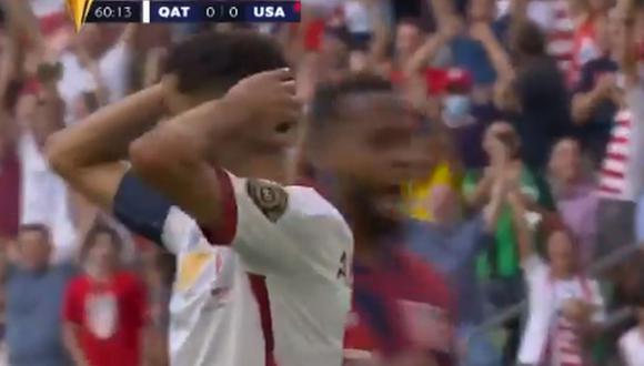 Penal de Hassan Al-Haidos en el Estados Unidos vs. Qatar por la Copa Oro 2021 (Foto: Captura/@GoldCup)