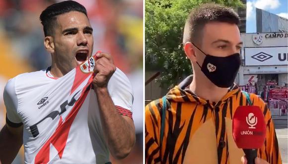 Hincha se disfrazó para ver debut de Radamel Falcao García en Rayo Vallecano. (Foto: Composición/Twitter)